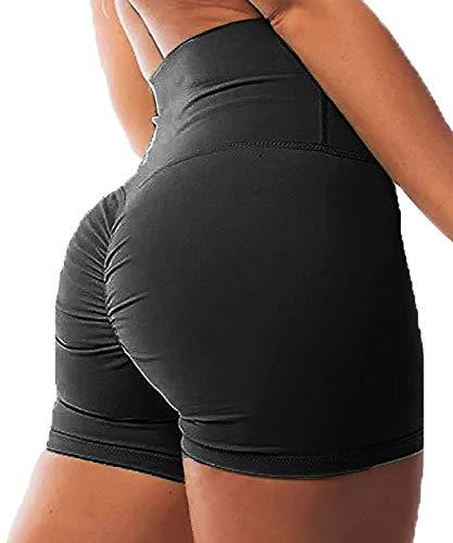 FITTOO Pantalones Cortos Leggings Mujer Mallas Yoga Alta Cintura Elásticos Transpirables #1 Negro S