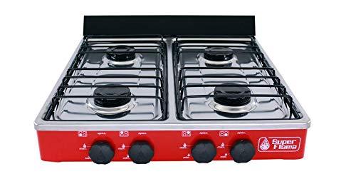 Super Flama 4Q-CA-R Parrilla de Gas de 4 Quemadores con Cubierta de Acero Inoxidable y Cuerpo de Lámina Pintada, color Rojo