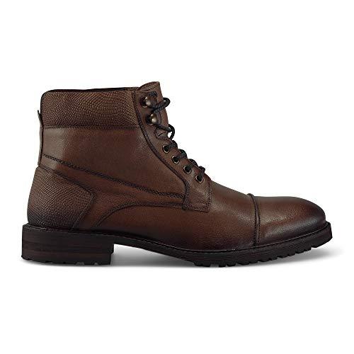 Cox Herren Schnür-Boots aus Leder, Trendiger Halbstiefel mit weicher Decksohle, Freizeit-Stiefel mit robuster Laufsohle, in Braun Braun Glattleder 43