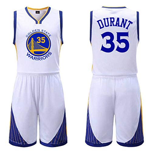LX7 Basketballuniform Warriors 35 Durant Schwarz Weiß Blau Blauer Anzug mit Uniform und Shorts