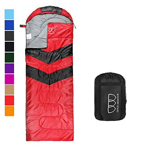 Gold Armour Sleeping Bags for Adults Kids Boys Girls Backpacking Hiking Camping, Cold Warm Weather 4 Seasons, Indoor Outdoor Use, Lightweight & Waterproof (Red/Black Right Zipper)