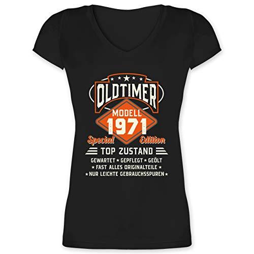 Geburtstagsgeschenk Geburtstag - Oldtimer Modell 1971 - L - Schwarz - F281N_Damen_Kurzarm_Vneck - XO1525 - Damen T-Shirt mit V-Ausschnitt