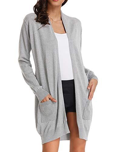 GRACE KARIN Womens Light Weight Long Sleeve Open Front Long Cardigan (2XL,Light Grey)