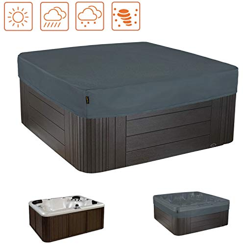 HENTEX Outdoor Whirlpool Indoor Aussen Whirlpool Spa Hot Tub Pool Abdeckung, Grau, 220x220x25H cm