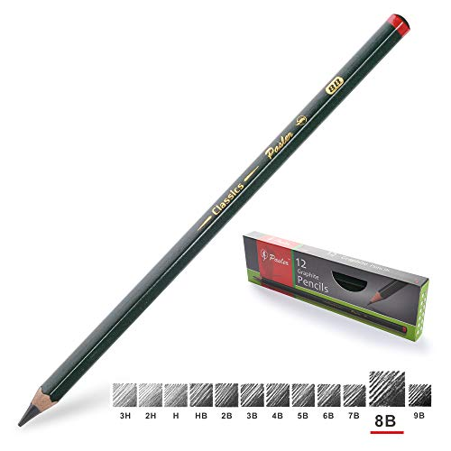 Pasler Professional Graphic Sketching Drawing Pencils 12 Count (8B)