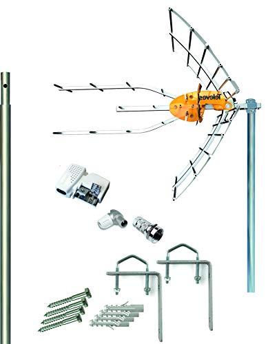 Kit Antena Televes 5G + Fuente + Mástil 1.5m + Garras + Conexiones