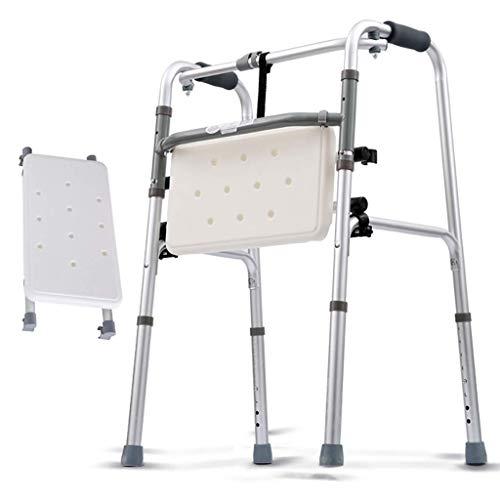 JALAL Leichte Faltbare Gehhilfe aus Aluminium, Rollator, 2-in-1-Gehhilfe mit abnehmbarem Sitzgehgestell mit Rädern