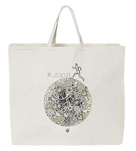 Sophia S850141 Tote Bag Utopia 48 X 40 en Toile Écologique, Coton, Blanc, 48x19x40 cm
