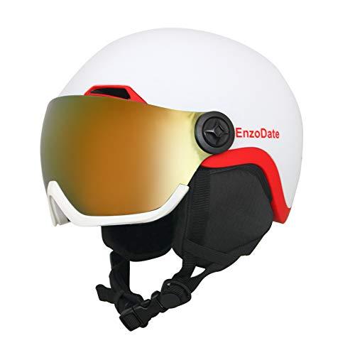 EnzoDate Casco da Snowboard con Visiera Integrata Scudo 2 in 1 Caschi da Neve da Sci Maschera Staccabile Intercambiabile, Lente per Visione Notturna a costo aggiuntivo