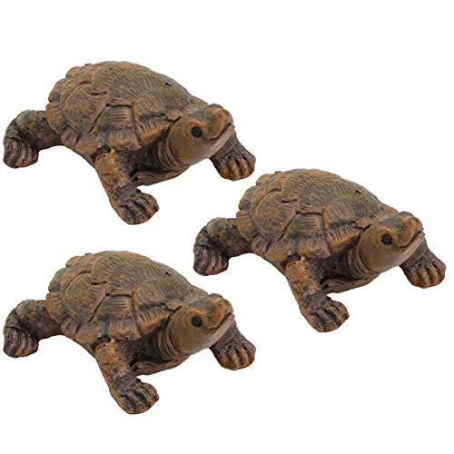 Angoily 3 Unids Mar Tortuga Figuras en Miniatura Tortuga Resina Estatuilla Planta...