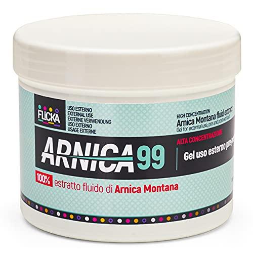 FLICKA Arnica pour chevaux, À usage humain extra fort, Gel avec concentration maximale d'Arnica Montana, Action rapide sur les muscles et les artisans, 100% naturel et fabriqué en Italie (500ml)