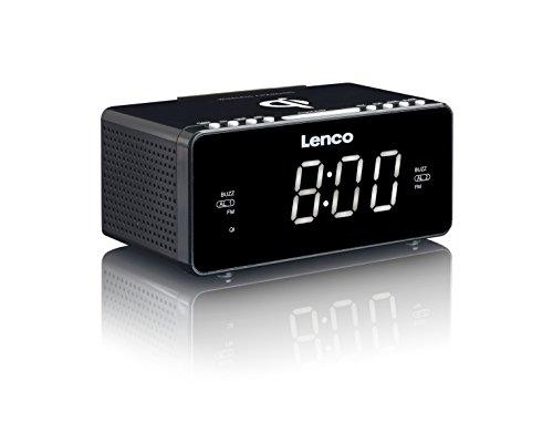 Lenco Radiowecker CR-550 mit 2 Weckzeiten 12 Zoll LED Display dimmbar Sleep-Timer Schlummerfunktion USB-und Wireless Lader Schwarz