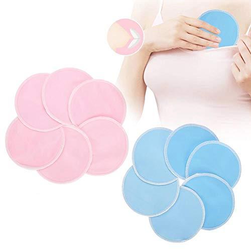 12 Stück Stilleinlage, waschbar Weiche Bambus Faser Prävention Lecksicher Stillen Pad Entlastung Make-up Pads Belüften saugfähig(01# blau + rosa)