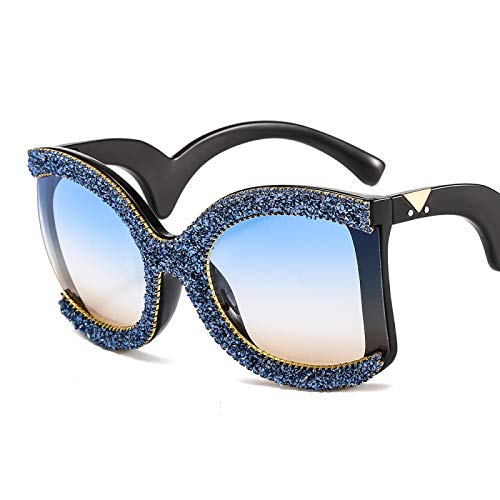 Secuos Moda Gafas De Estilo De Moda para Mujer con Montura De Diamantes De Imitación, Gafas De Sol De Cristal, Anteojos Curvos, Gafas Deslumbrantes para Piernas para Mujer C4Blue