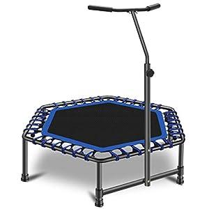 JJ JUJIN - Trampolín deportivo con asa ajustable en altura para adultos, cama elástica con cuerdas elásticas suaves de 126 cm, peso máximo 130 kg, uso interior y exterior, color azul