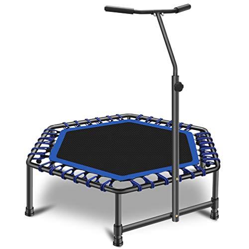 JJ JUJIN Trampolín de fitness con mango ajustable en altura para adultos, trampolín deportivo con cuerdas elásticas suaves, 126 cm, peso máximo 130 kg, uso interior y exterior, color azul
