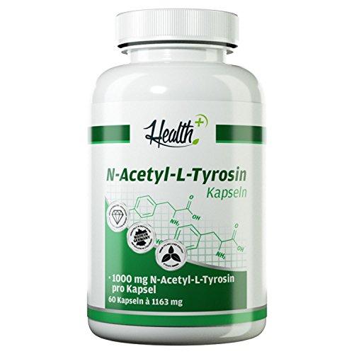 Health+ N-Acetyl-L-Tyrosin - 60 Kapseln je 1000 mg reines Tyrosin, hochdosierter essentieller Baustoff für Schilddrüsenhormone, ohne Zusätze, 100 g