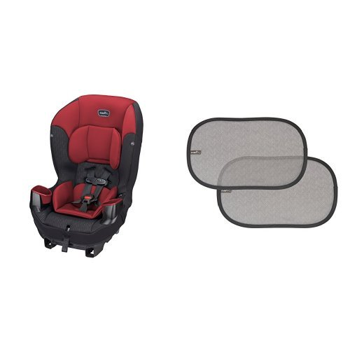 New Evenflo Sonus 65 Convertible Car Seat, Rocco Red with 2 Piece Car Window Cling Shades, Grey Chev...