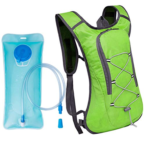 Xingkee Mochila de hidratación de 2L con Bolsa de Bicicleta de vejiga de hidratación para Correr al Aire Libre Ciclismo, Mochila de Agua con Sistema de hidratación Verde