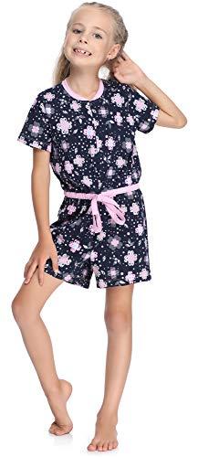 Merry Style Mädchen Overall Short Schlafstrampler Strampelanzug MS10-267(Marine/Blumen, 134-140)