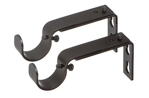 Ivilon Adjustable Brackets for Curtain Rods - for 1 or 1 1/8 Inch Rods. Set of 2 - Antique Black