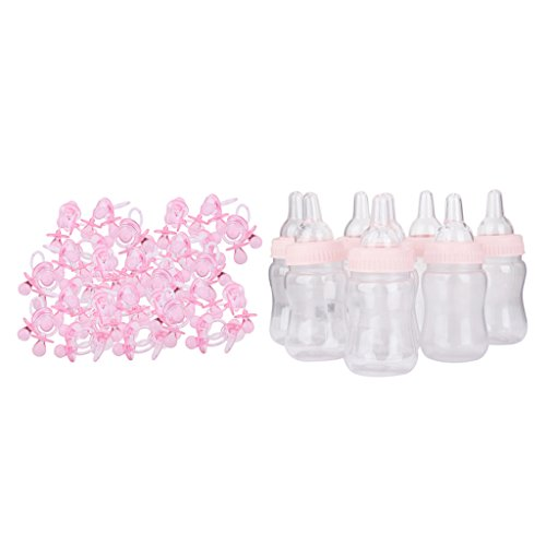 P Prettyia Lot de 288 Mini Sucettes Charm Pendentifs D/écorations pour Bapt/ême Douche de B/éb/é F/ête Party Rose Blanc