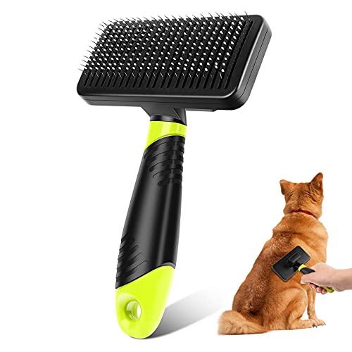 Foairs Hundebürste Katzenbürste für Langhaar und Kurzhaar, Haustier Bürsten, Sauberes Haustierhaar von der Bürste mit Einem Knopf