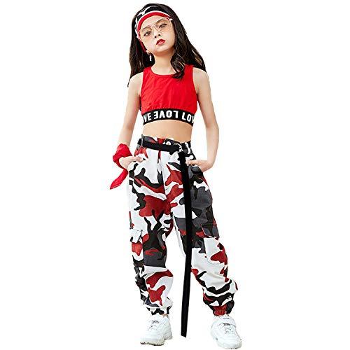 LOLANTA Mädchen Hip Hop Street Dance Kleidung Set Jazz Dancewear Tank Top + Camouflage Pants