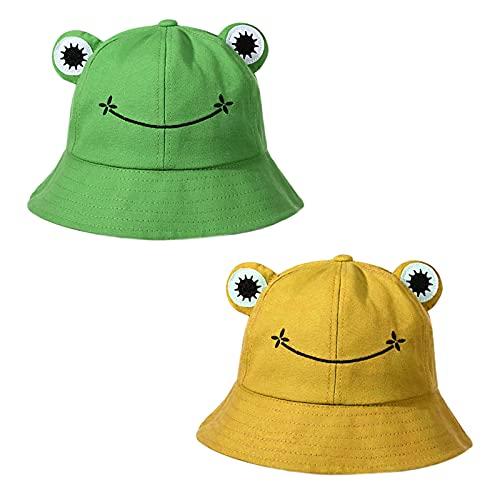 2Pcs Gorros Sombreros de Pescador Rana Bucket Hat Algodón Plegable Sombrero de Cubo...