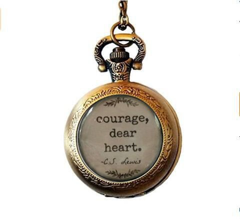 nijiahx C.S. Lewis Quote, Courage Dear Heart, glass dome Pocket Watch...