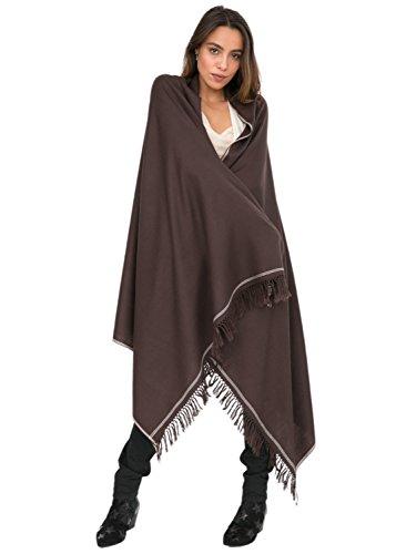 likemary Merino Wool Wrap Shawl & Blanket Scarf Oversize Fairtrade Pashmina Shoreditch Chocolate 100 x 200cm