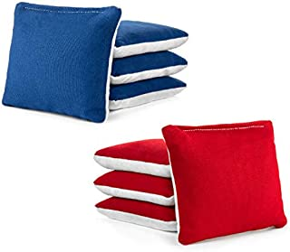 Tailgating Pros Red Royal Blue White Suede Pro-Style Cornhole Bags Two-Sided Slick & Stick Resin-Filled Suede and Duck Canvas Set of 8 …