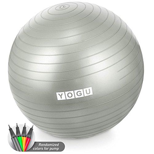 Yogu Stabilitäts-Gymnastikball, 65 cm, für Yoga, Pilates, Bauchmuskeltraining, Fitnessball und Bürostuhl, grau, 65 cm