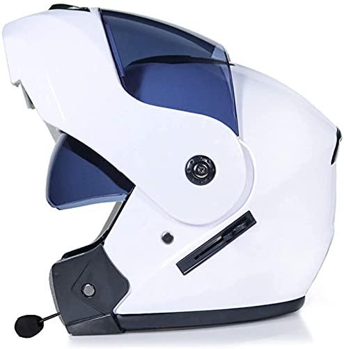 NZGMA Cascos abatibles de Doble Visera para Motocicleta con Bluetooth, Casco de Motocicleta de Cara Completa Modular Integrado con Bluetooth, Casco de Motocross Modular con Bluetooth, Casco apro