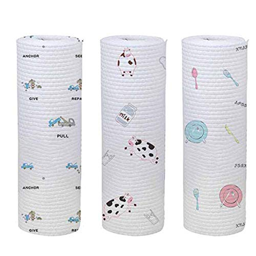Keukenpapier, vlies, wasbaar, 3 rollen met reinigingsdoek voor organische stoffen, herbruikbaar, milieuvriendelijk papier, multifunctioneel, 50 vellen/rol