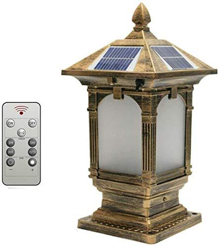 3, luces solares para poste de exterior, lámpara de pilar LED de color con control remoto, lámpara de jardín vintage, luz de camino impermeable antigua, lámpara de columna de patio, terraza, lámpara