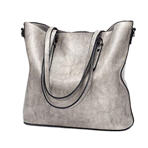 Yiwjby Borse A Spalla per Borse Donne Famose Borsa delle Donne della Spalla di Crossbody Borsa Morbida Borsa in Pelle Large Gray Bag