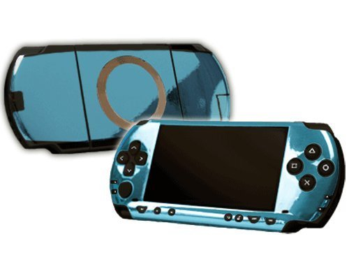Sky Chrome Mirror Vinyl Decal Faceplate Mod Skin Kit for Sony PlayStation Portable 1000 (PSP) Console by System Skins