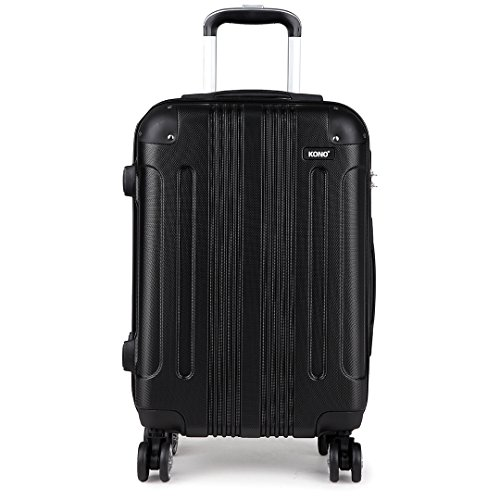 Kono 28 Inch Large Hard Shell Luggage Lightweight ABS 4 Wheels Spinner Business Trip Trolley Case Suitcase (Black)