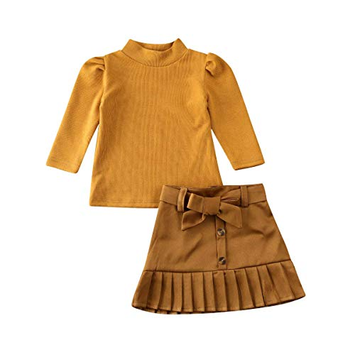 Toddler Little Baby Girl Winter Clothes Long Sleeve Sweater Shirt Pullover Top+Ruffle Tutu Mini Skirt Fall Outfits Set (Brown, 2-3 Years)