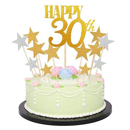 Dusenly Glitzerbuchstaben Happy Birthday Kuchen-Dekoration goldene Zahlen Geburtstag Happy Cake Topper und Glitzer Gold Silber Stern Cake Topper (41) 18–80 30. / Stern