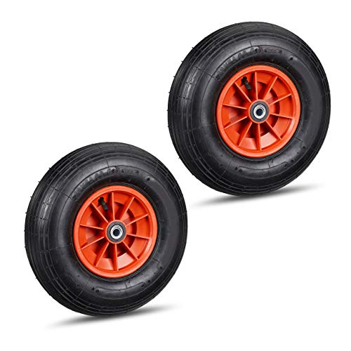 2 x Schubkarrenrad, 4.00-6 Reifen, Kunststofffelge, luftbereift, 3 Adapter, Ersatzrad Schubkarre, schwarz-rot