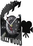ZZLLL El Reloj de Pared LED con Logotipo de Cine Ahora Puede Mostrar a los cineastas Reloj de Pared con Disco de Vinilo...