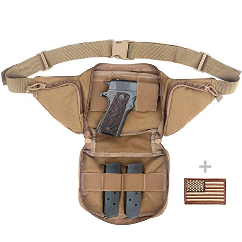 """LIVANS Concealed Carry Fanny Pack Holster, Tactical Conceal Carry Pistol Bag Mens Gun Carry Concealment Holster Fits 1911 and G 17,19,20,21 Fits up 55"""" in Waist Free U.S Flag Patch"""