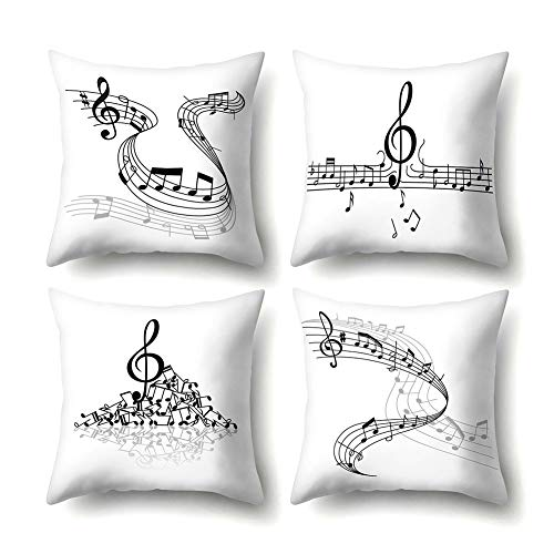 Clenp Fodere per Cuscini, 4 Pezzi Modello per Note Musicali Fodera per Cuscino Fodera per Cuscino Decorazione per Letto Auto per La Casa 1# 45 cm x 45 cm