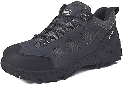 SUADEX Zapatos de seguridad para hombre y mujer, ligeros, transpirables, con puntera de acero, color Gris, talla 38 EU