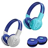 2 Pack of SIMOLIO Kids Bluetooth Headphones with Hearing Protection,Kids Wireless Headphones with EVA case for School and Travel, Wireless Children Headphones for Boys, Girls, Teenagers (Grey+Mint)
