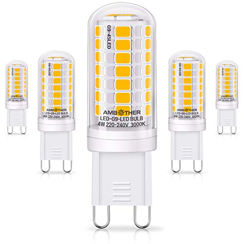 AMBOTHER G9 LED Lampen, 4W/450LM Warmweiß 45x 2835SMD LED statt 40W Halogenlampen, G9 LED Birne Leuchtmittel Glühbirnen, Nicht Dimmbar AC 220-240V, 5er Pack