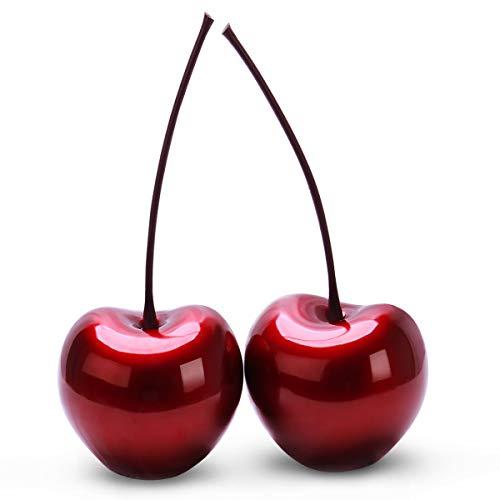 Esculturas de mesa decorativas de cerezo rojo grande de 6 pulgadas, paquete de 2 piezas de decoración del hogar de habitación de lujo moderno artístico