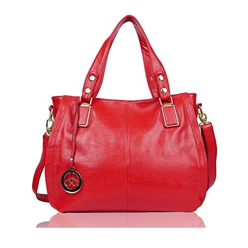 EGOGO Damen Shopper Handtasche Leder Henkeltasche Für Fraun Schultertasche Reisen Arbeit und Einkäufe E522-6 (Rot)